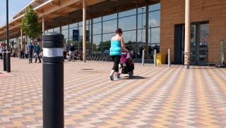 Block paving outside supermarket