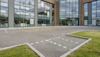 conservation kerb outside a commercial building car park