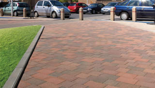 Keyblok red paving outside car park