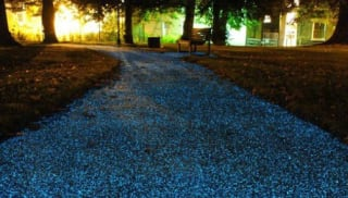 A glowing path powered by solar power