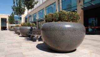 Large protective planters on street