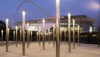 Illuminated lightstack outside Wembley stadium