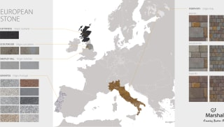 A map of Europe showing Marshalls stones by region including Granite, Porphyry, Yorkstone and Sandstone
