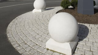 circular bollards on roundabout