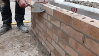 Wall built using concrete bricks and Marshalls mortar