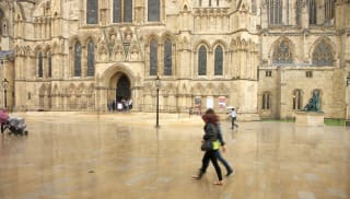 Natural stone paving outside cathedral