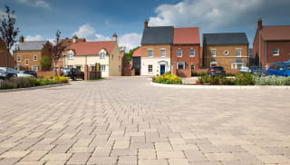 Permeable paving on housing street