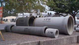 A variety of concrete pipe fittings