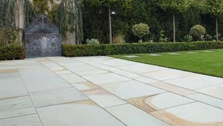 light grey paving used in a garden