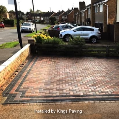 Block paving laid on a driveway.