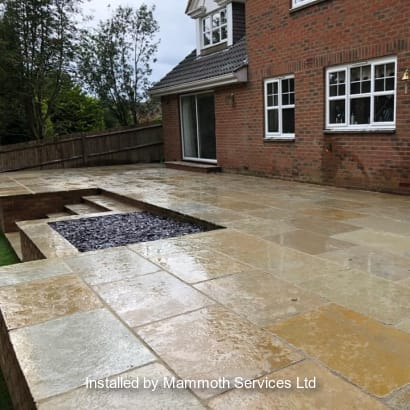 Marshalls paving installed in a patio.