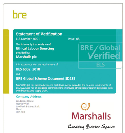 BRE Ethical Labour Standard Verification