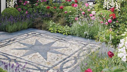 mosaic paving in a star