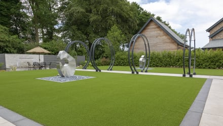 Symphony patio in Ivory and Always Green artificial grass