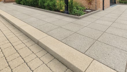 Conservation X Kerb in Cream with Conservation X Priora Block and Conservation X Paving