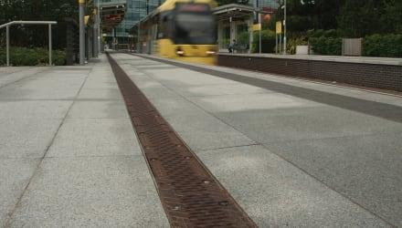 Tram leaving a tram station
