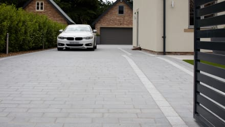 Sawn Granite Setts in Dark and Light driveway