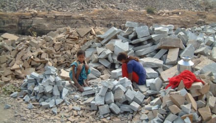 Children working at a quarry overseas