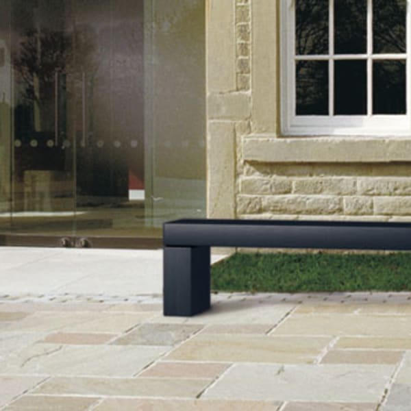 geoform stonelements bench with block legs in natural stone