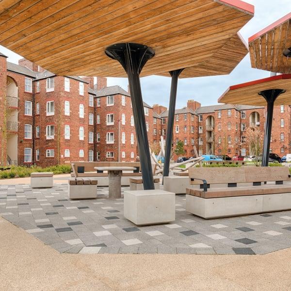 metrolinia modular concrete seating units and modal paving