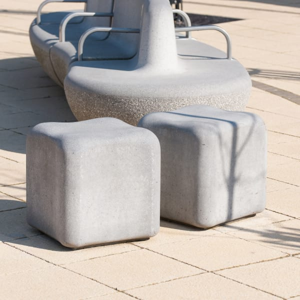 monoscape igneo seat and appia bollards on saxon paving