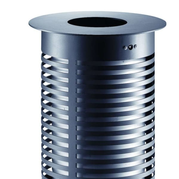sineu graff contemporary round aperture in top/empty via top steel and stainless steel litter bin