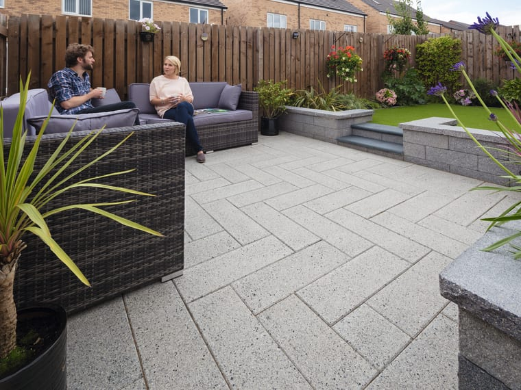 Marshalls Argent Smooth paving in light.