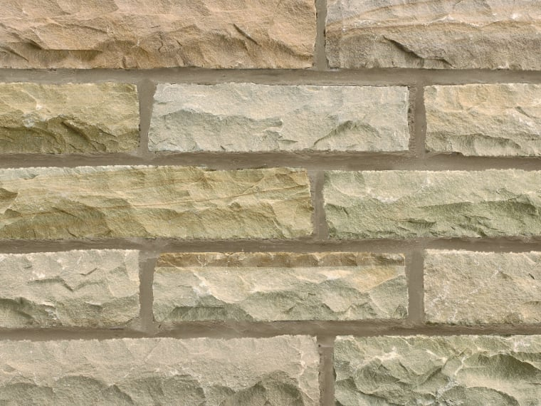 Marshalls pitched walling in autumn bronze.
