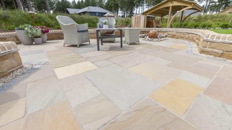 Indian sandstone patio in buff tones