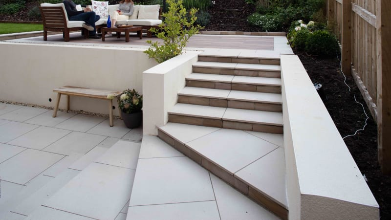 Marshalls Symphony Classic garden paving laid in a garden