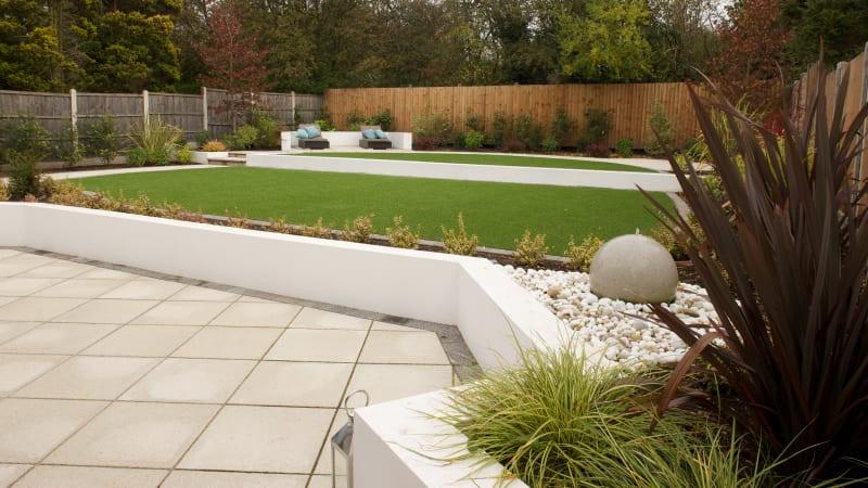Marshalls Saxon garden paving in natural colour.