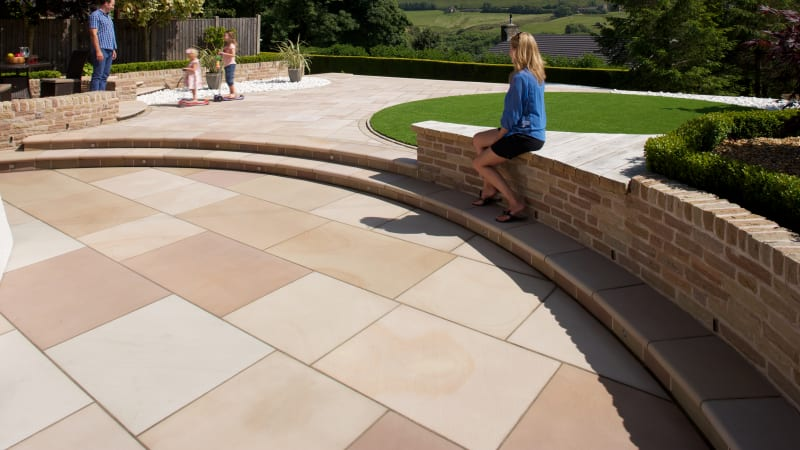 Marshalls Sawn Versuro King Size paving laid in a garden