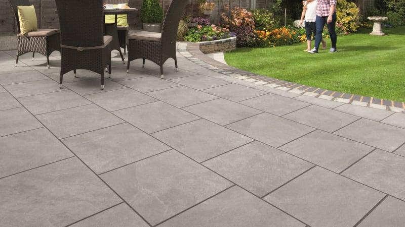 Marshalls Arrento garden paving in silver.