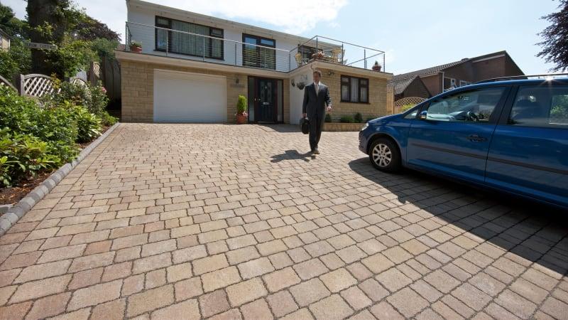 Marshalls Drivesett Tegula Priora Permeable Driveway Block paving in harvest