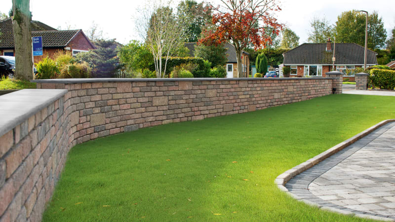 Marshalls Drivesett Tegula walling in traditional