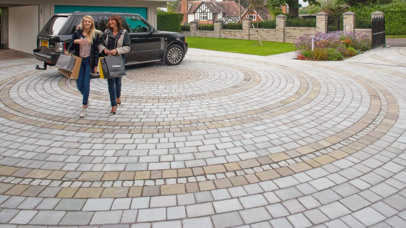 Marshalls Driveway Setts in autumn bronze and silver birch.