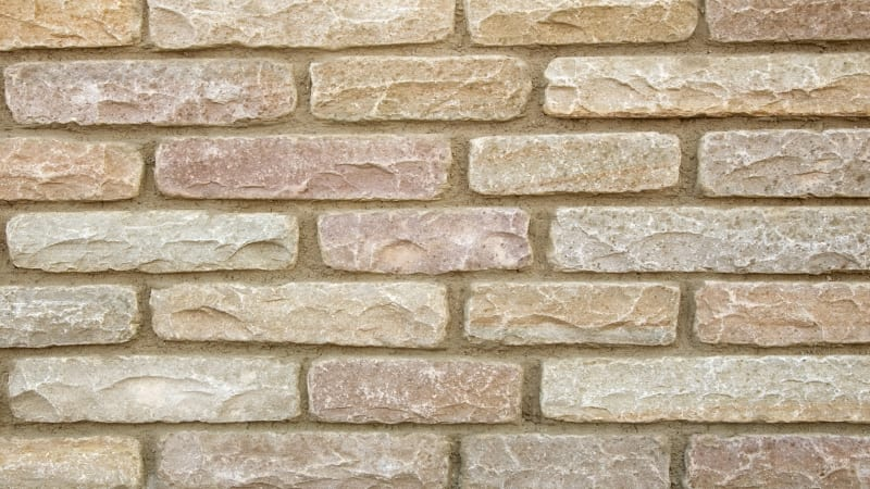 Marshalls tumbled walling in autumn bronze.