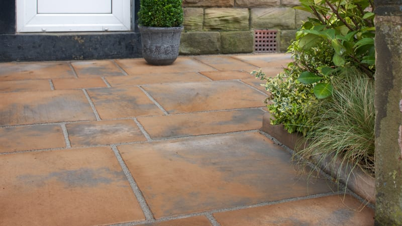 Marshalls Firedstone Paving in Autumn colour