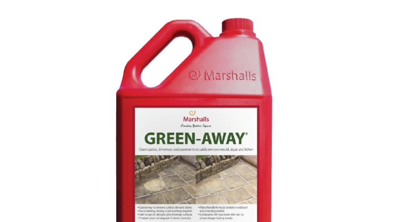 Marshalls Green Away patio cleaner bottle.