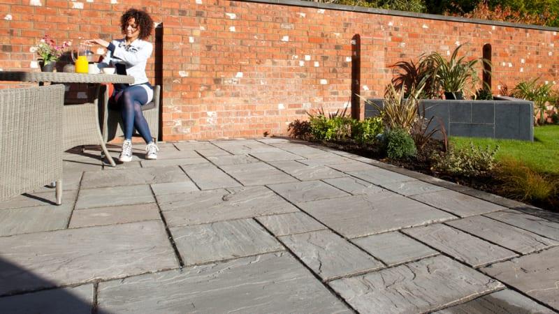 Marshalls Indian Sandstone garden paving in grey multi.