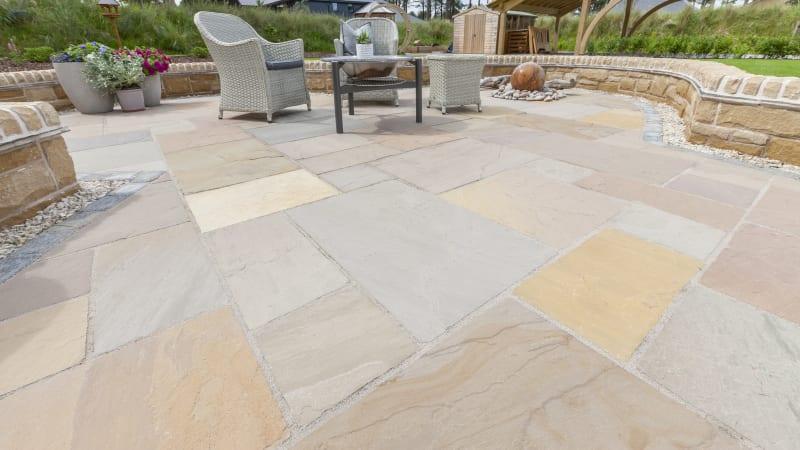 Marshalls Indian Sandstone garden paving in brown multi