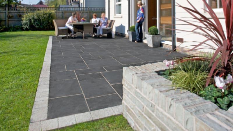 Marshalls Limestone Aluri garden paving in charcoal