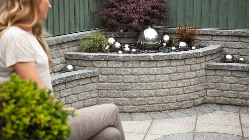 Marshalls Marshalite Rustic walling in ash multi and Argent paving in dark