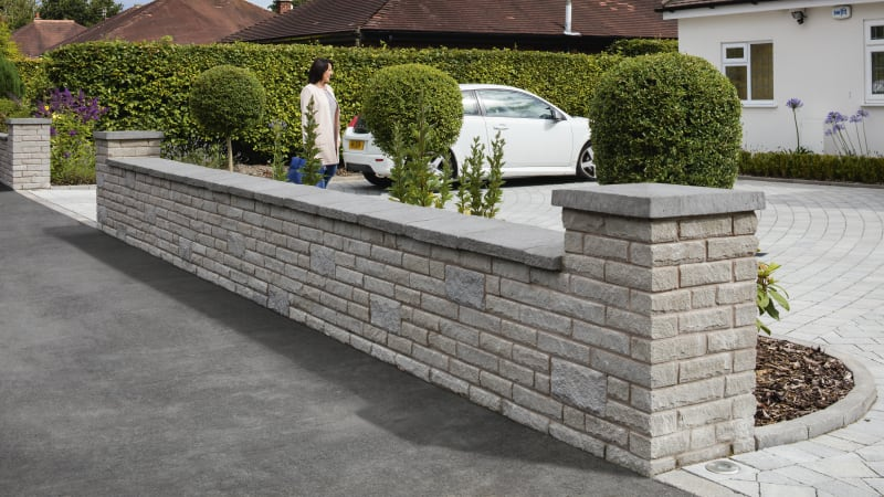 Marshalls Marshalite Pitched Faced walling in ash multi