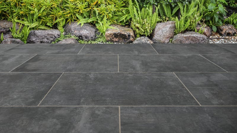 Marshalls Motus garden paving in graphite.