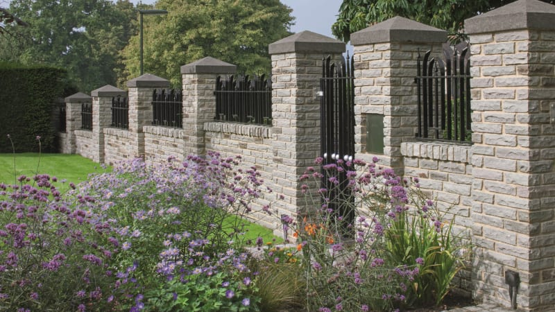 Marshalls Tarditional Natural Stone Pitched Face walling in silver birch