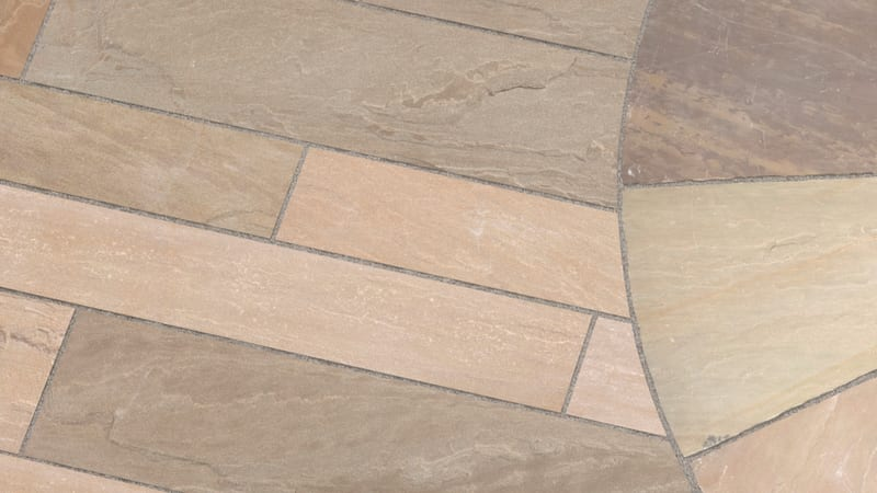 Marshalls Riven Harena Circle and Linear paving in autumn bronze