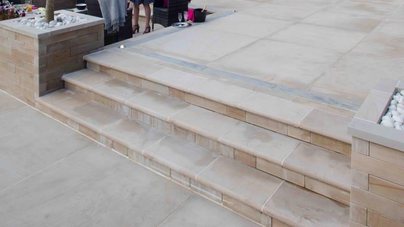 Marshalls Sawn Versuro steps in Golden Sand Multi.