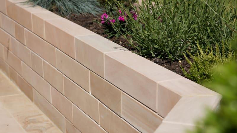 Marshalls Sawn Versuro garden walling in Caramel Cream Multi.