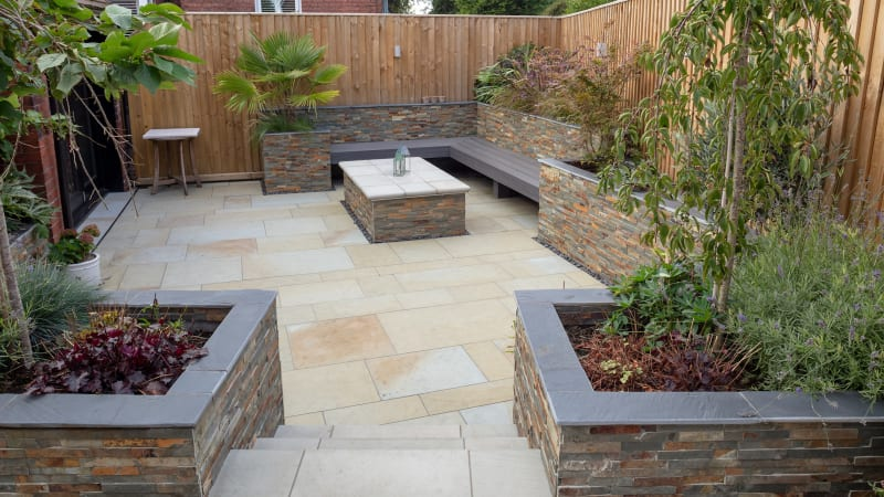 Marshalls Scoutmoor diamond sawn and Stoneface Drystack walling in harvest